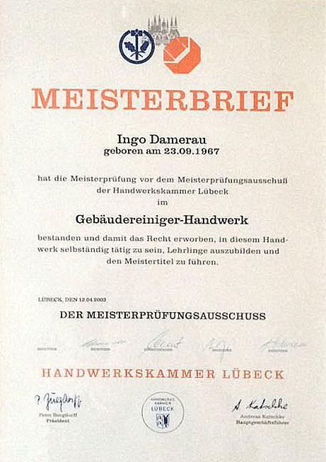 Meisterbrief Ingo Damerau